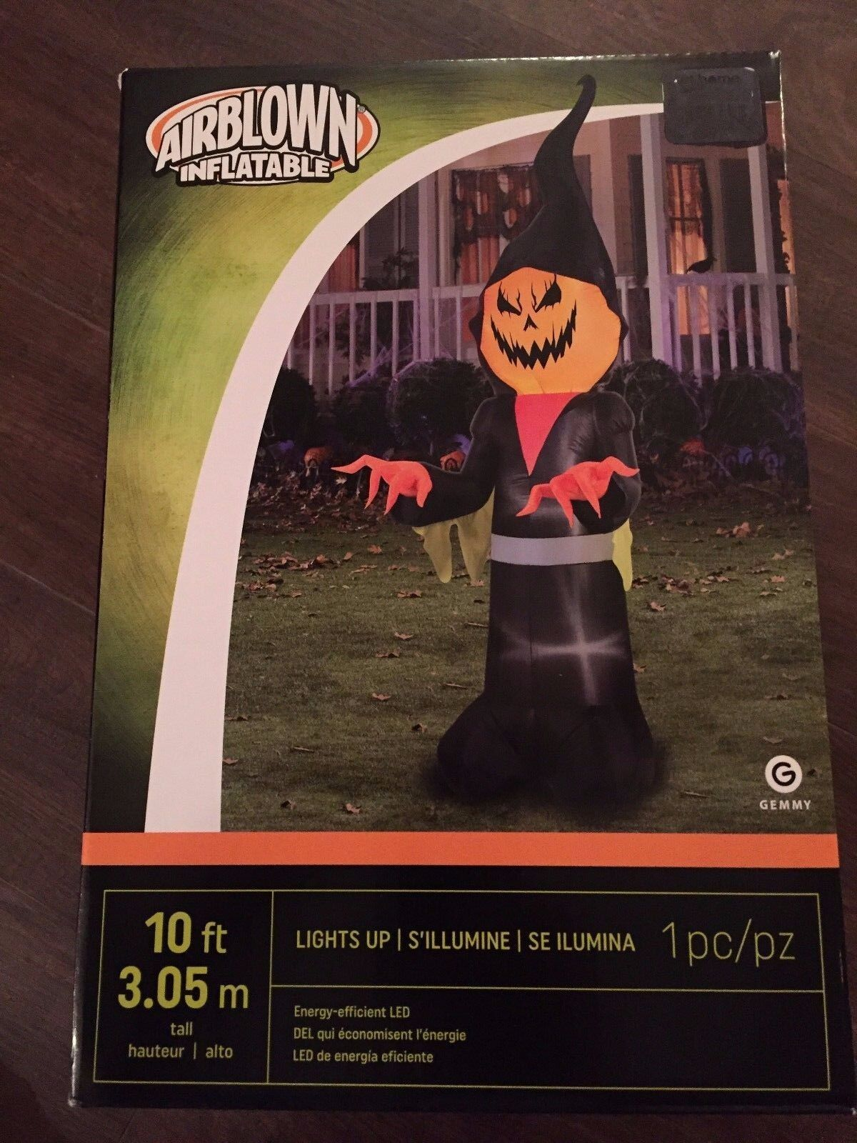 Halloween Huge 10 Foot Pumpkin Grim Reaper Led Lit Airblown/inflatable Decor