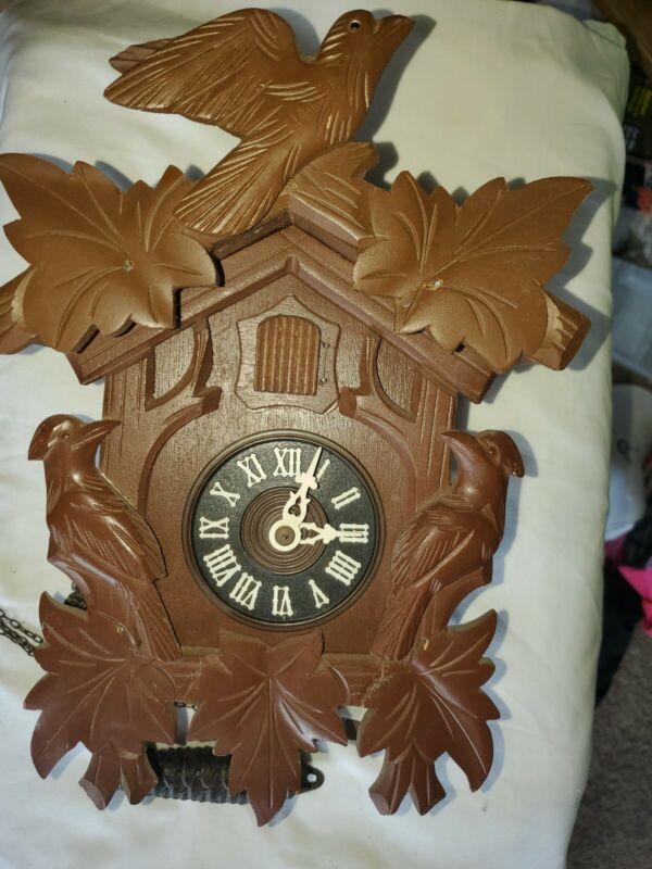 VTG August Schwer Regula Cuckoo Clock Birds Leaves West Germany Working Wooden