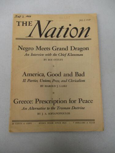 Negro Meets Grand Dragon Vintage Nation Magazine KKK Black Americana Racism 1949