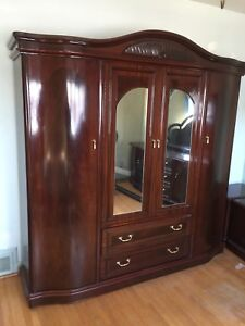 Queen Ann Style Carved Armoire Wardrobe and Dresser