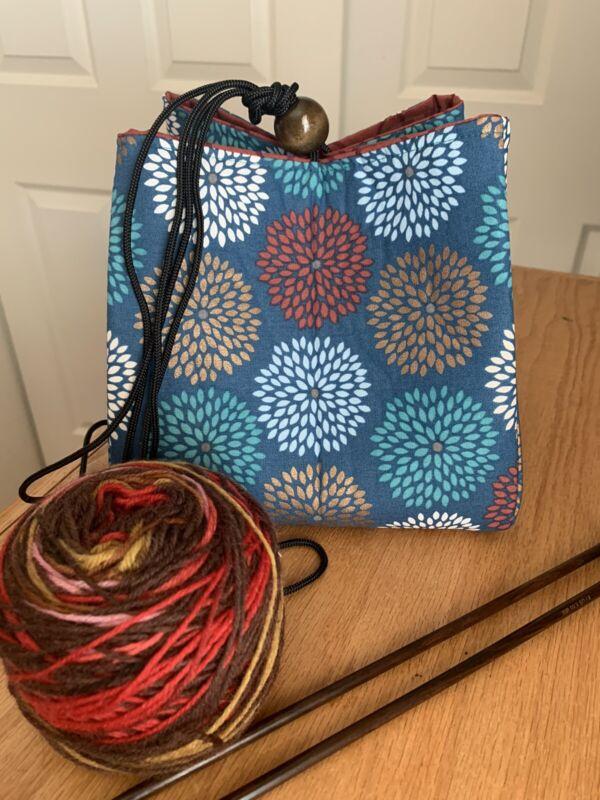 Knitting Tote Bag Square Bottom Base Crochet Yarn Portable Craft Bin Travel