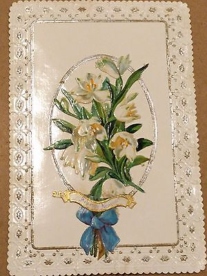 """#Original 1800's Victorian Lace Paper Card """"New Year Flowers"""" 3 x 4.5"""""""