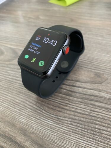 Apple Watch Series 3 42mm Space Gray Aluminium Case With Black Sport Band GPS  - $165.00