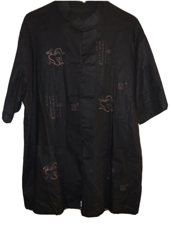 Beijiasi - Black Mandarin Jacket - Heavy Thick Embroidered Dragons - XXL