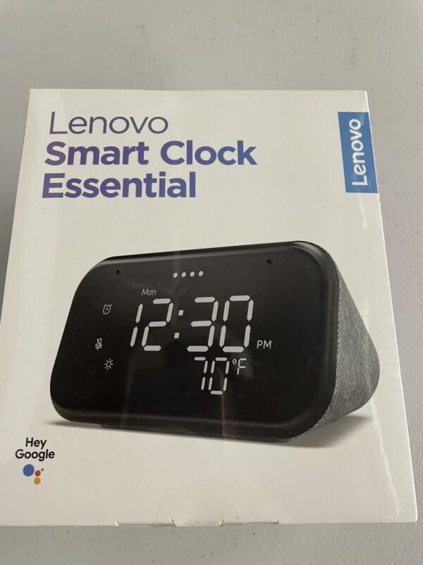 Lenovo - Smart Clock Essential with Google Assistant - Gray - NEW + SEALED