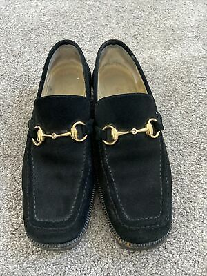 Stunning Vintage GUCCI Loafers Black Suede Leather Gold Horsebit Lug Sole Sz 7B