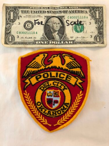 Rarer RED Del City Oklahoma Police Dept. Patch Mint un-sewn Oklahoma Patches