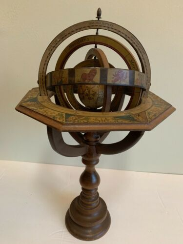 ANTIQUE CARVED WOOD ARMILLARY SPHERE