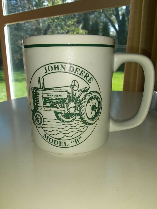 John Deere Model B Tractor History Coffee Mug White And Green New With Stickers