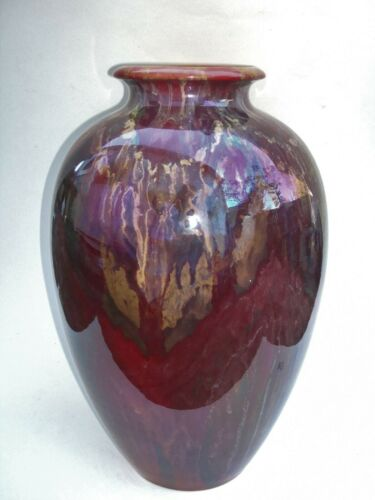 "Zsolnay Pecs Pottery 13"" Red Eosin Iridescent Vase c1890"