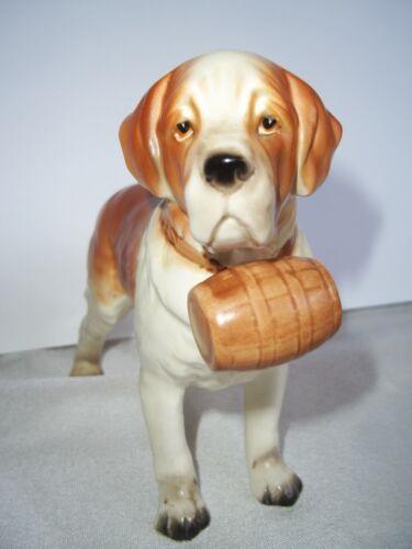 Vintage Lefton Saint Bernard Porcelain Dog Figurine H3679 Red Barrell on Neck