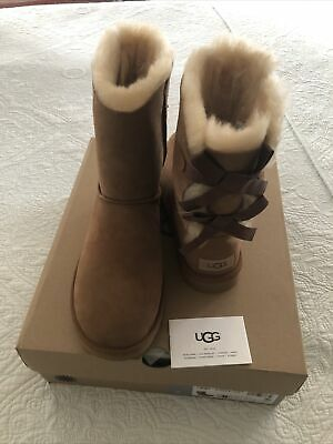 UGG Bailey Bow II Winter Snow Boots Chestnut Women Size 8 New in Box