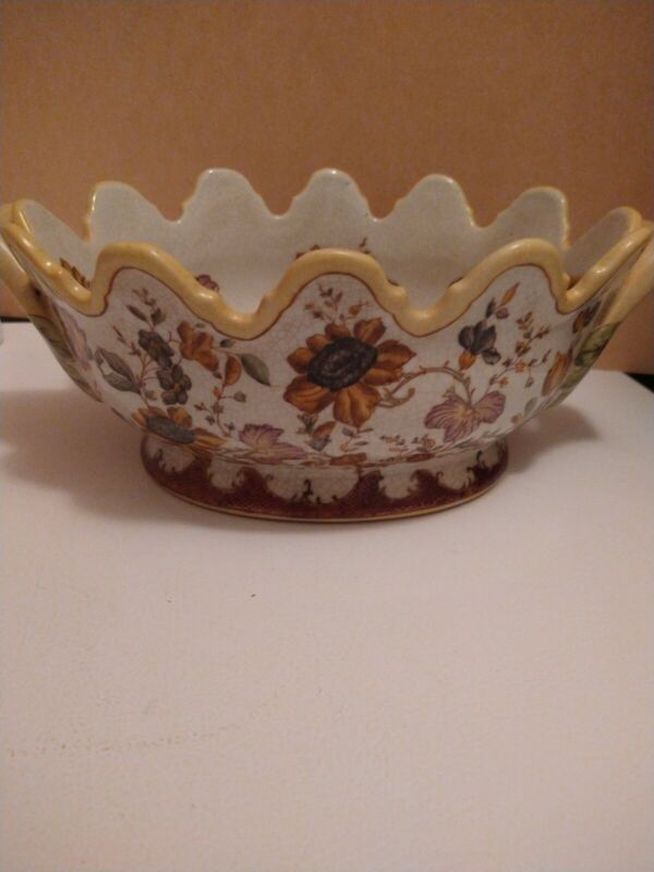 """""""Hand Painted Contemporary Wong Lee 1895 WL Porcelain Floral/Sunflower Bowl"""