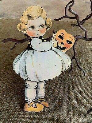 Repro Vintage 1900s Girl Holds Pumpkin Halloween Mask Cardstock Decoration, 8