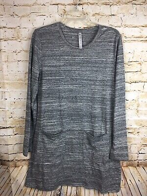 Fabletics Jamie Long Sleeve Dress Womens SZ L Patch Pockets Charcoal Spaced