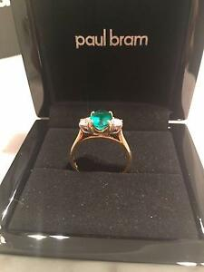 PAUL BRAM - Gold Emerald & Diamond Ring - VALUE = $10,800 Melbourne CBD Melbourne City Preview