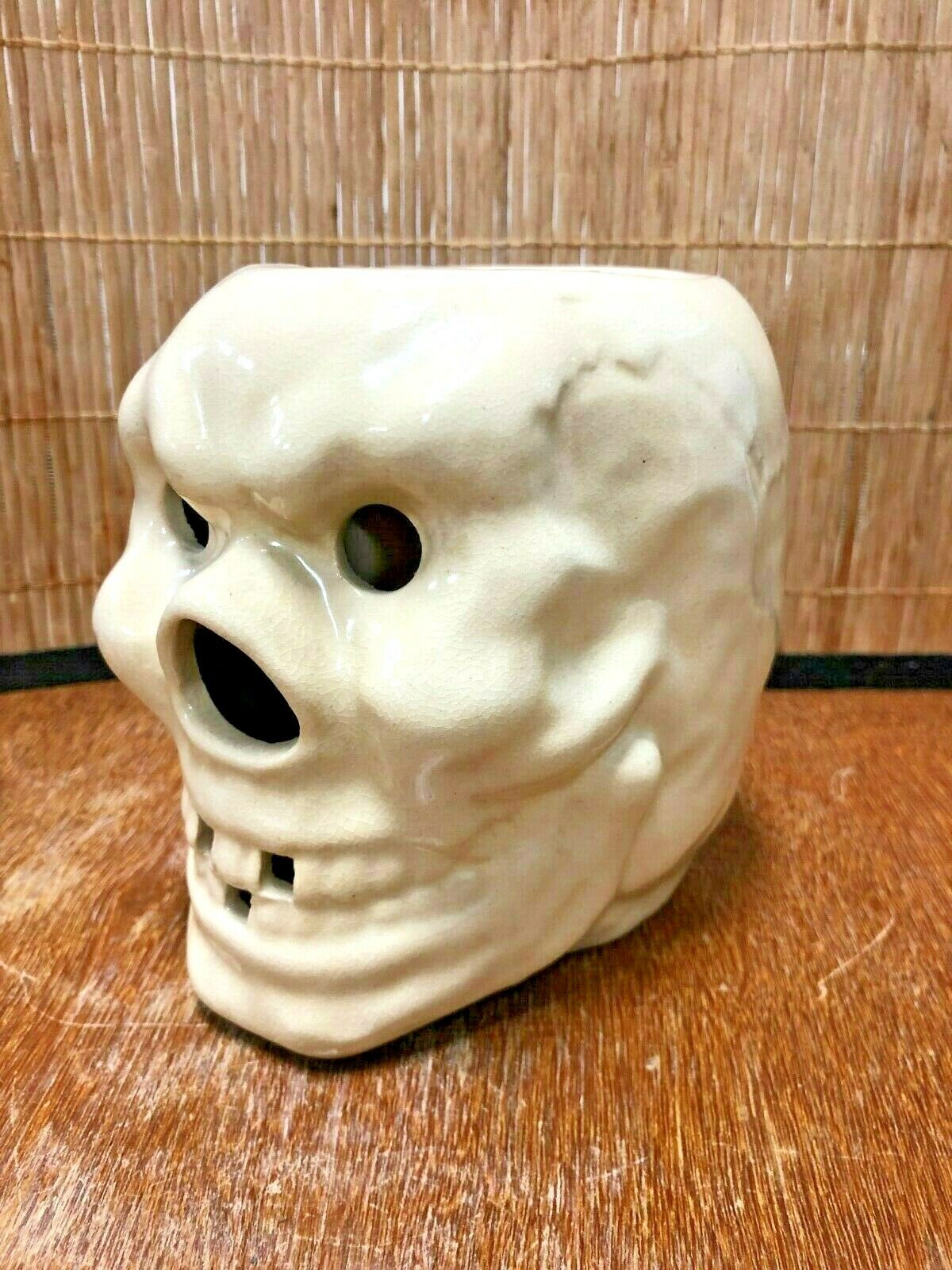 Vintage Trader Dick's Large Handled Skull Skeleton Tiki Mug