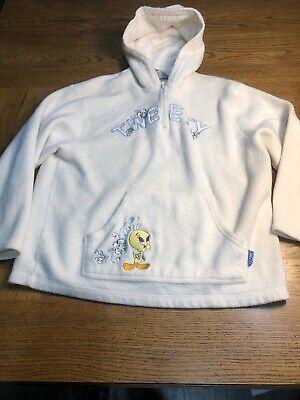 Looney Tunes Tweety White Long Sleeve Women's Fleece 1/4 Zip Hooded Jacket Sz L Tweety Fleece