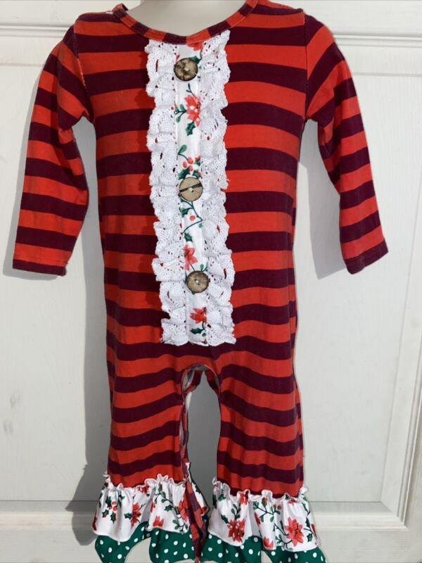 Boutique One Piece Holiday Christmas Baby Girl 6-12 Mos Adorable