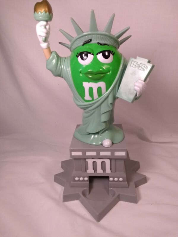 M&Ms World Green Ms Liberty Candy Dispenser Statue of Liberty 11""