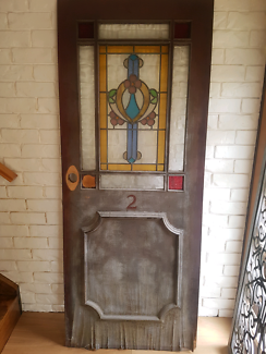 Entrance timber door with stained glass