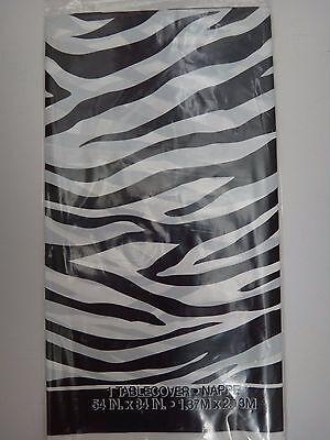 Black And White Plastic Tablecloth (Unique Plastic Zebra Chic Tablecover Tablecloth Black White 54
