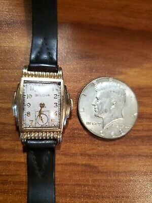 Mens Vintage Bulova Tank wristwatch Fancy Stepped  Case 15 jewels runs