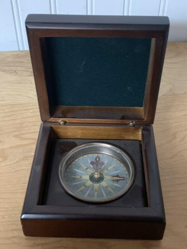 RARE S. Emery Salem Brass Compass in beautiful wooden box
