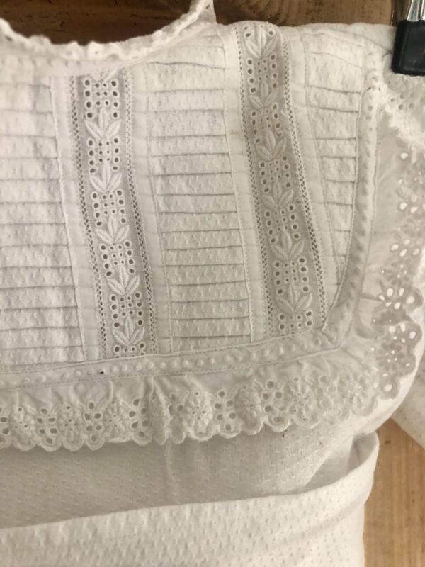 Antique French CHRISTENING baby dress DAMASK cotton BRODERIE ANGLAISE doll c1900
