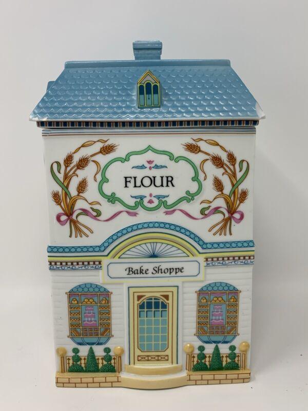 "Lenox Village Flour Canister Jar Fine Porcelain 1990 9.5"" VERY CHIPPED - READ"