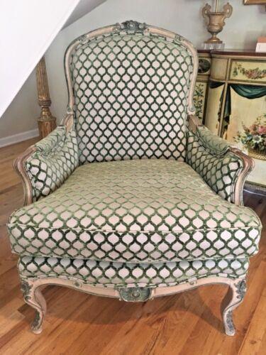 19th Century Louis XVI Style Painted Bergere Chair Cut Velvet Fabric