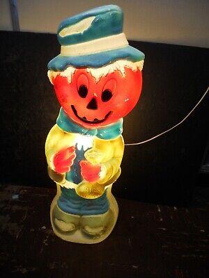 Vintage Halloween Pumpkin Scarecrow Jack-O-Lantern Blow Mold Working Condition