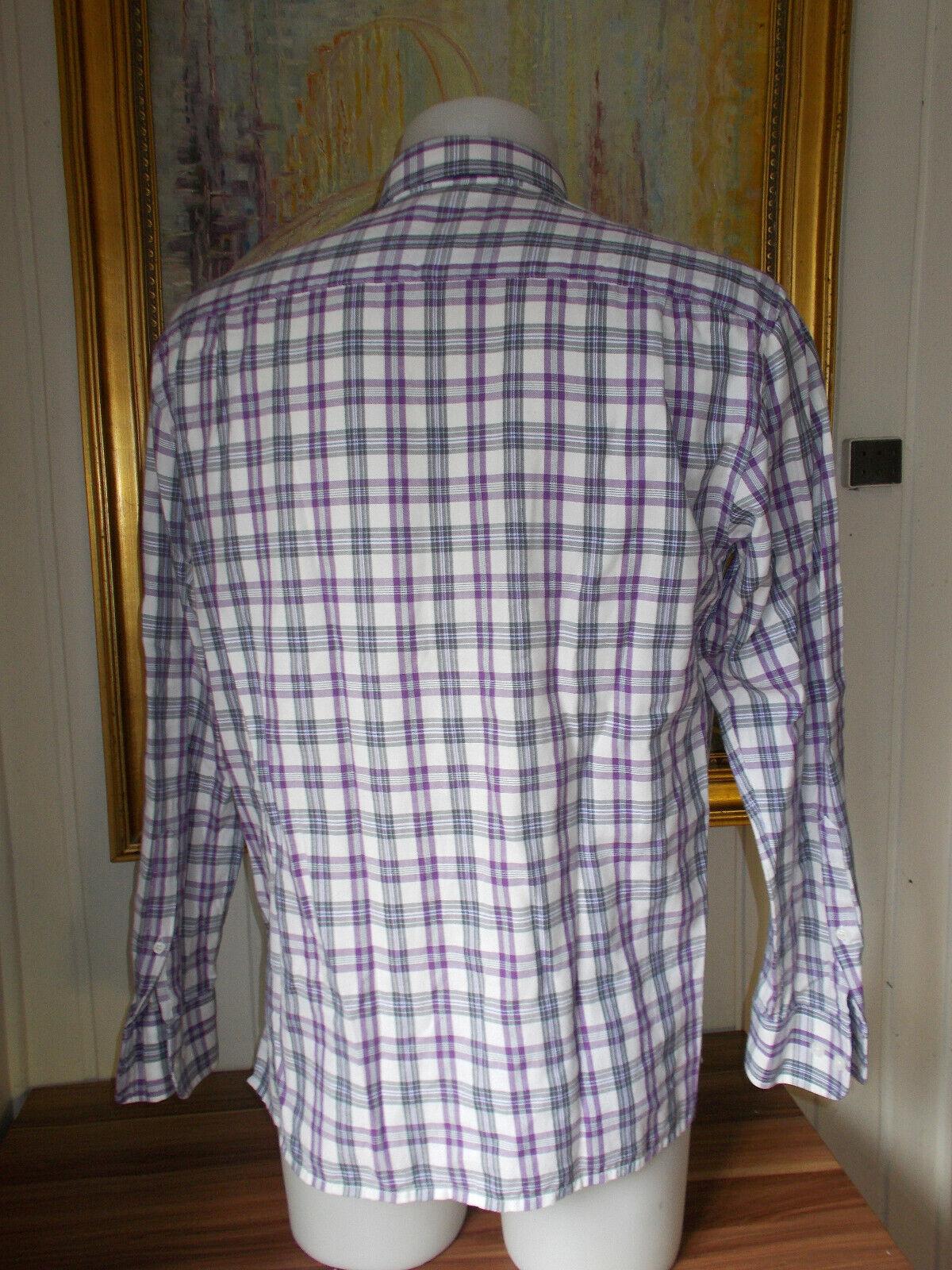 Chemise manches longues ecossais blanc/mauve/gris leger mise au green m 40