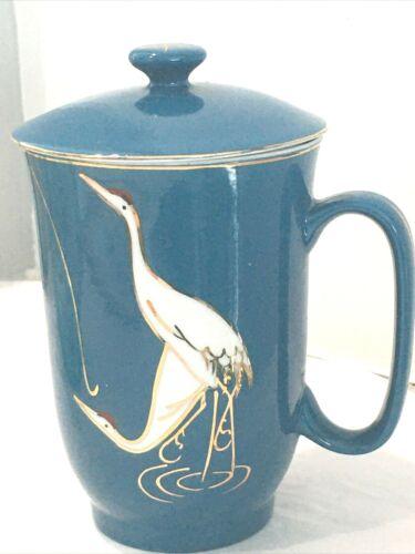Chinese Porcelain Lidded Teacup Mug Cranes Birds Teal Gold Trim