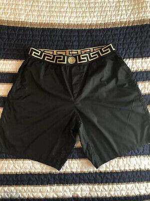 Men's Black Versace Swimshorts Size 6 (XL) With Gold Medusa Waistband NWOT