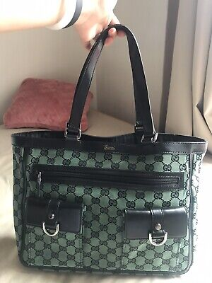 90% new used Gucci green tote bag, Carried A Few Times Only