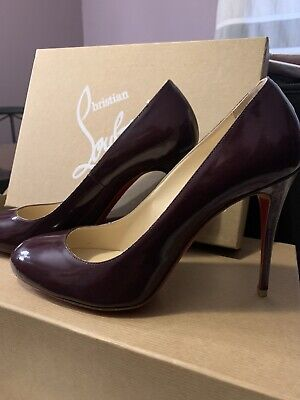 Christian Louboutin Plum Leather Fifi 80 Round Toe Pumps Heels Sz 38