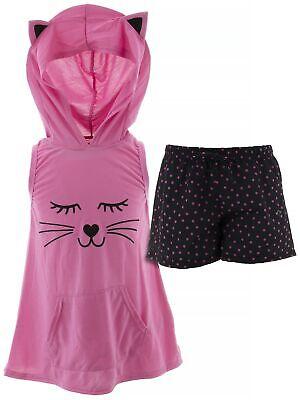 dELiA*s Girls Cat Pink Black Character Face Hooded Short Sleeveless Pajamas - Girls Pink Pajamas