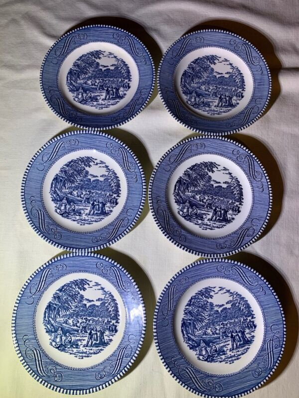 """Currier & Ives Blue Royal China 6 Bread & Butter Plates 6 1/2"""" Dia Free Shipping"""