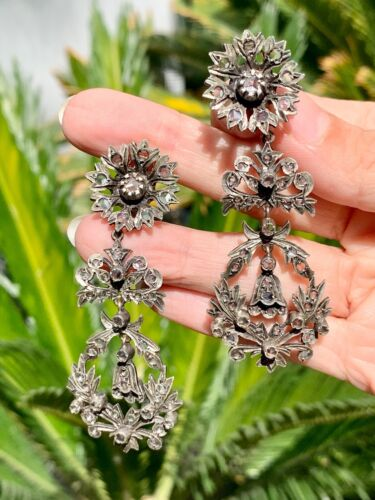 Vintage Chandelier earrings with rose cut diamond on silver & Gold