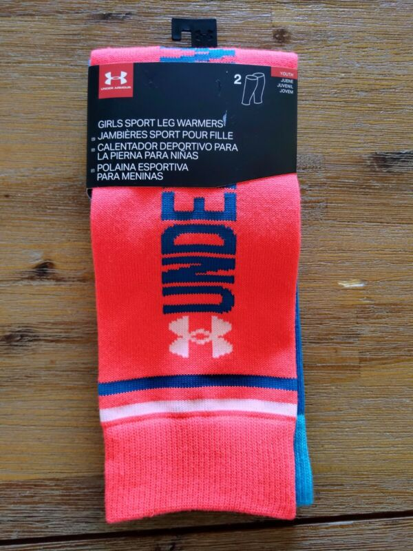 Under Armour Youth Girls Sport Leg Warmers Knit NEON Red Blue UA 2 Pair NEW