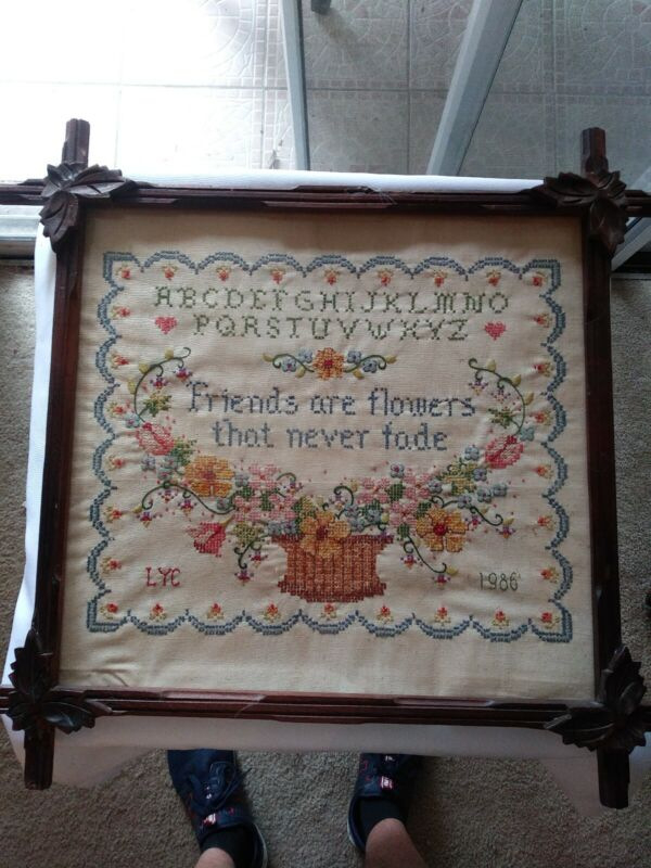 "Antique Needlepoint w/ Black Forest Frame w/ Leaf Corners 21"" x 20"""