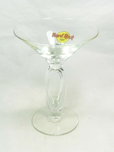 Hard Rock Cafe HRC San Diego CA Double Stem Martini Cocktail Glass, Logo