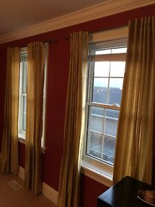 Window curtains and rods- gold, red, burgundy