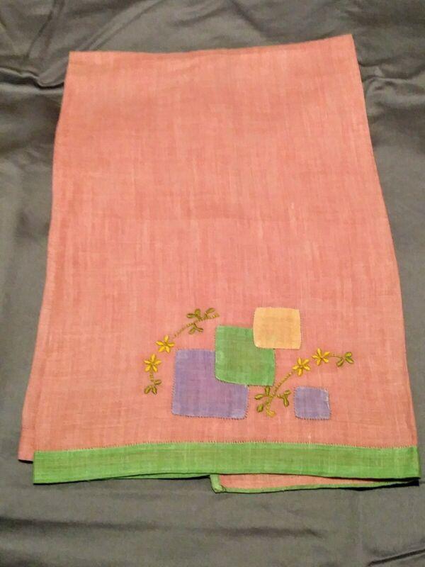 "Madeira Dark Peach Floral Applique & Embroidered Linen Hand Towel 21.5""x15"""