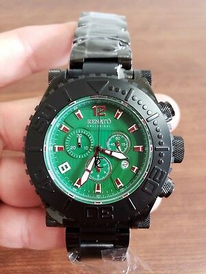 Renato Emporium Men's 50MM Black Stainless Steel Green Face Swiss Chrono (Men Emporium)