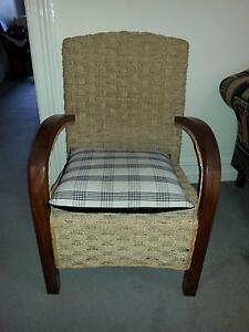 Woven seagrass and timber armchair, cane trim Croydon Burwood Area Preview