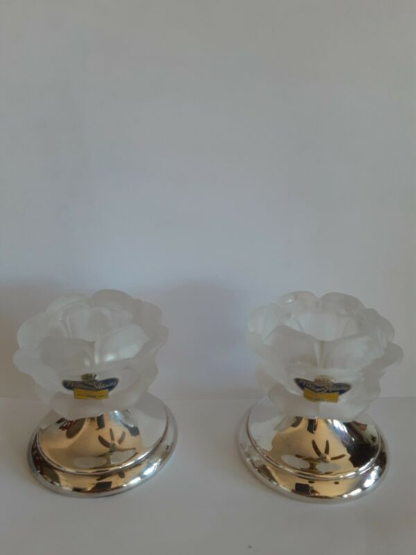 Lot of 2William Adams Frosted Rose Crystal Silverplate Base Stick Candle Holder