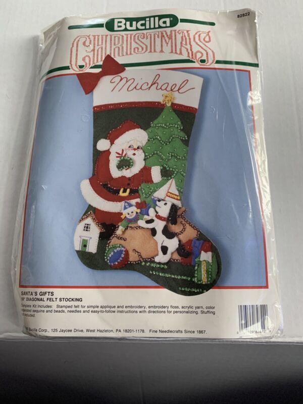 Vintage 1990 BUCILLA Christmas Felt Stocking Kit SANTA
