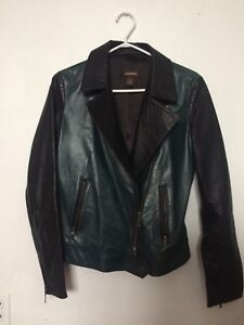 Danier Leather Jacket - Black and Forest Green - Size X-Small